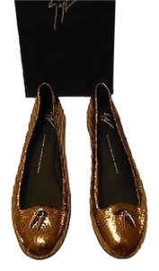 Giuseppe Zanotti Leather Made In Italy Bronze Flats