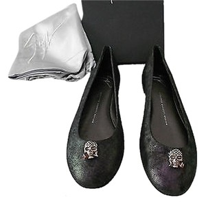 Giuseppe Zanotti I06028 Swarovski Crystal Medallion Detail Iridescent Metallic Finish Purple Flats