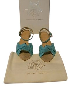 Charlotte Olympia Marina Two Tone Upper Jute Footbed Top Knot Lovely Turquoise Sandals