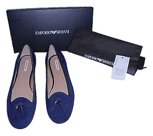 Emporio Armani Tasseled Suede Made In Italy Blue Flats