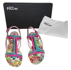 Studio Pollini Two-tone Upper Patterned Footbed Coordinated Buckles Made In Italy Fuchsia/Green Sandals