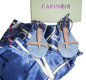 Cafe Noir Side Bow Scarf Tan/Blue Sandals