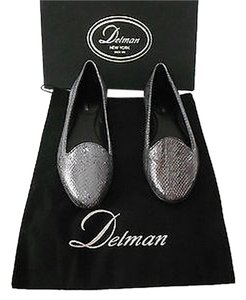 Delman Reptile Embossed Metallic Finish Gunmetal Flats