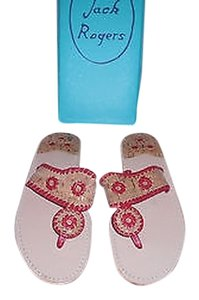 Jack Rogers Palermo Leather And Cork Natural Cork/Red Sandals