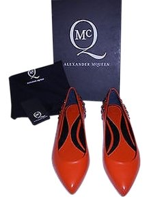 MCQ by Alexander McQueen Soft Supple Leather Burnished Accents Sophisticated Made In Italy Orange Flats