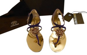 Roberto Cavalli Swarovski Crystals Flower Accent Exquisite Made In Italy Purple Sandals