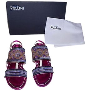 Studio Pollini Embroidered Textile & Leather Lovely Design Blue/Beige/Fuchsia Sandals