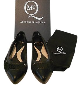 MCQ by Alexander McQueen Mesh/Leather Design Chic Made In Italy Black Flats