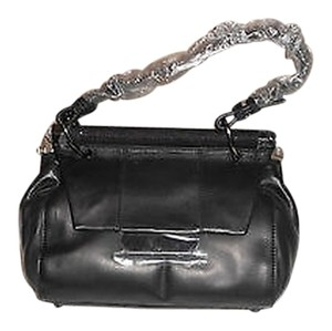 Halston Pebbled Dowel Accent Sophisticated Design Convertible Shoulder Bag