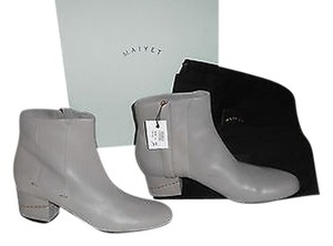 Maiyet Pebbled Leather Delicate Goldtone Stud Heel Accent Light Grey Boots
