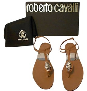 Roberto Cavalli Snake Charm Accent Swarovski Eyes Attention To Detail Elegant Design Made In Italy Tan Sandals