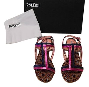 Studio Pollini Two-tone Upper Mixed Leather Patterned Footbed Coordinated Buckles Made In Italy Navy/Fuchsia Sandals