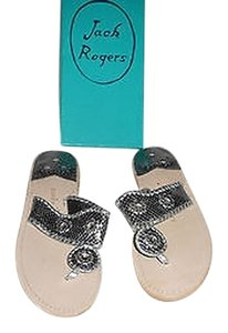 Jack Rogers Lovely Snake Embossed Pewter Sandals