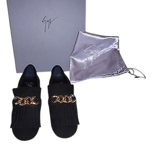 Giuseppe Zanotti Fringe Detail Chain Link Accent Made In Italy Nero Flats