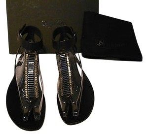 Calvin Klein Collection Sleek Design Beaded Vamp Wrap Around Strap Black Sandals
