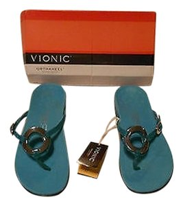 Other Karina Orthaheel Technology Lizard Embossed Comfortable Turquoise Sandals