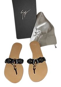 Giuseppe Zanotti E20267 Burnished Brass Accent Black Sandals