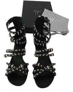Giuseppe Zanotti E40279 Embellished Strappy Chic Wonderful Detail New Never Worn Black Sandals