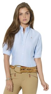Ralph Lauren Blue Label Super Slim Short Sleeve Button Down Shirt powder blue