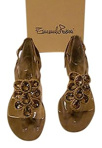 Other Rhinestone Accented Soft Suede Taupe Sandals
