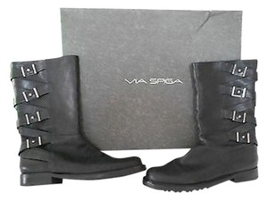 Via Spiga Norris Crisscross Strap And Buckle Detail New Never Worn Black Boots