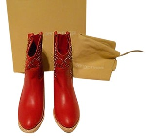 Sergio Rossi Studded Soft Leather Red Boots