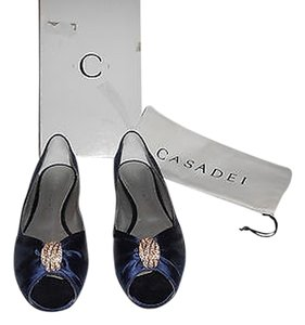Casadei Jeweled Satin Peep Toe Elegant Navy Flats