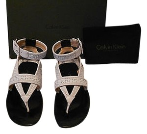 Calvin Klein Collection Liann Mixed Leather Treatment Wrap Around Ankle Strap Leather Covered Buckle Made In Italy White/Black Sandals