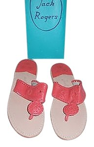 Jack Rogers Nantucket Fire Coral Whipstitch Detail Pink Sandals