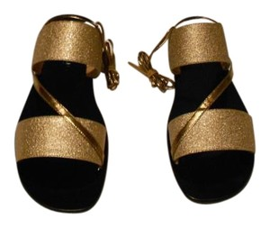 Calvin Klein Collection Striking Texture Design From The Elegant Made In Italy Gold Sandals
