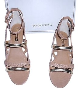 BCBGMAXAZRIA Isoldy Braided Leather Brown Sandals
