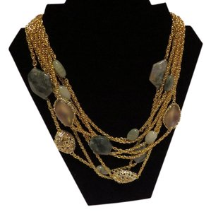 Alexis Bittar Alexis Bittar Moss Agate Multi Chain Bib Necklace - Warm Grey