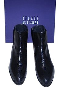 Stuart Weitzman Apogeemid Lizard Embossed Burnished Trimmed Heel Black Boots