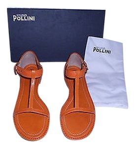 Studio Pollini Mixed Leather Attractive Design Wonderful Details Made In Italy Orange Sandals