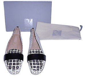Reed Krakoff N941 Square Print Leather Fashionable Striking Design Black/White Flats