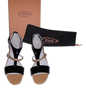 Tod's Stylish Comfortable Made In Italy Black/Tan Sandals