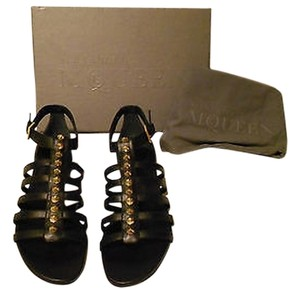 Alexander McQueen Studded Vamp Chic Comfortable Made In Italy Black Sandals