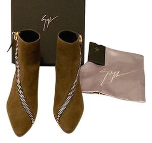 Giuseppe Zanotti Zipper Accent Distressed Leather Hidden Wedge Made In Italy Militare Boots