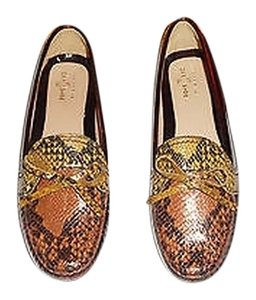 The Original Car Shoe Snakeskin Embossed Leather Driving Moccasin Brown Flats