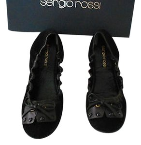 Sergio Rossi Elastic Collar Comfortable New Never Worn Black Flats