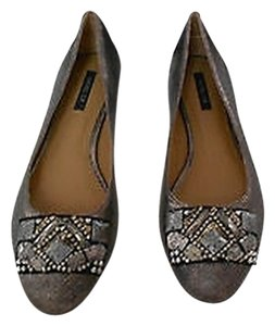 Rachel Zoe Zane Crackled Texture Lead Flats