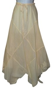 Cynthis Ashby Artist Design Artsy Embroidered Applique Maxi Skirt Yellow