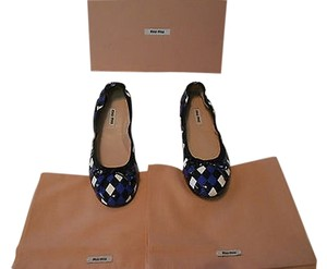 Miu Miu Diamon Pattern Upper Crafted Comfortable Made In Italy Blue/Black/Ivory Flats