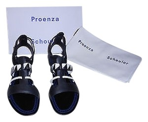 Proenza Schouler Pattern Accents Soft Supple Leather Made Made In Italy Black/White Sandals