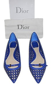 Dior Lady Cannage Lattice Work Leather Upper Sophisticated Design Made In Italy Blue Flats