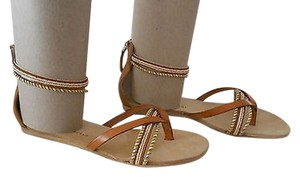 Other Tapeet Beaded Detail Twisted Strap Design Made In Italy Brown Sandals