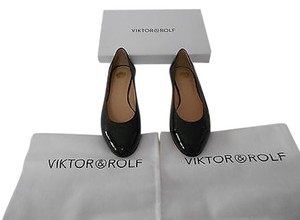 VIKTOR & ROLF Perforated Leather Cap Toe Made In Italy Black Flats