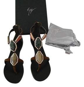 Giuseppe Zanotti E50376 Contoured Bezel Marble Made In Italy Brown Sandals