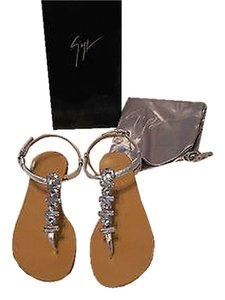 Giuseppe Zanotti E30314 Swarovski Crystal Accents Metallic Leather Silver Sandals