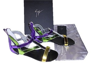 Giuseppe Zanotti E30197 Metallic Leather Fabulous Made In Italy Multi-Color Sandals